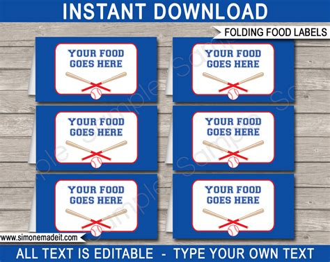label cuisine baseball food labels place cards decorations