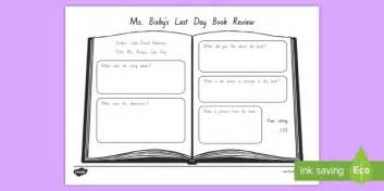 book review summary worksheet activity sheet to support