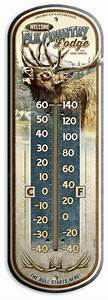 Elk, Country, Lodge, Vintage, Ad, Large, 17, U0026quot, Tin, Thermometer