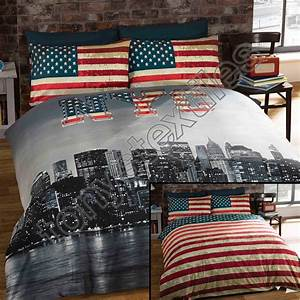 new york city skyline american flag usa reversible quilt With bed linens nyc