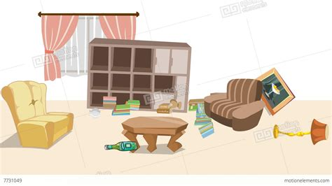 Earthquake In Cartoon Living Room Stock Animation