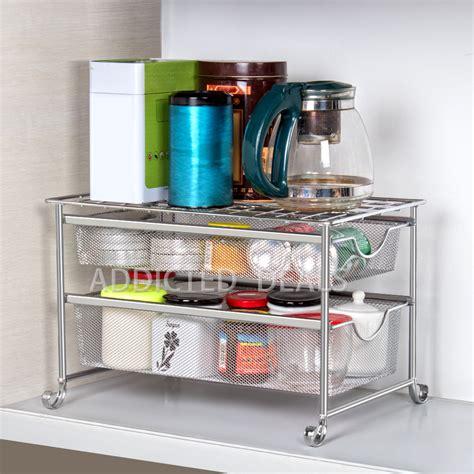 nex  tier  sink organizer storage shelf   mesh sliding baskets ebay
