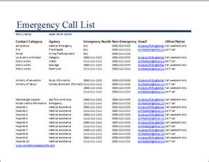 Emergency Call List Template