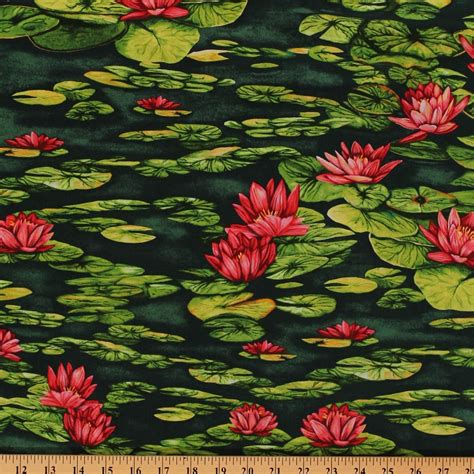 nature fabric prints cotton water lilies water lily flowers flower green lake pond floral nature cotton fabric print