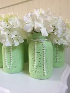 Painted, Mason, Jar, Wedding, Centerpieces