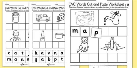cut and paste cvc worksheets free cvc words cut and paste worksheet activity sheet a cvc