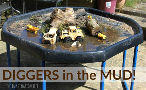 diggers in the mud sensory play tray the imagination tree 109 | Diggers in the mud sensory play fun for toddlers and preschoolers