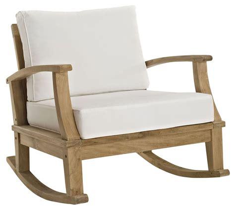 marina white outdoor patio teak rocker from