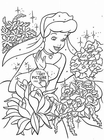Coloring Princess Pages Cinderella Disney Printable Flowers
