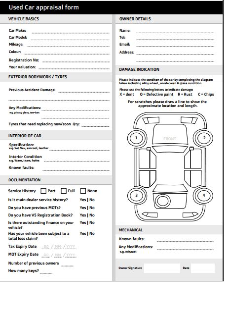 car appraisal forms word excel fomats