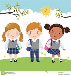 Three Kids In School Uniform Going To School Stock Vector