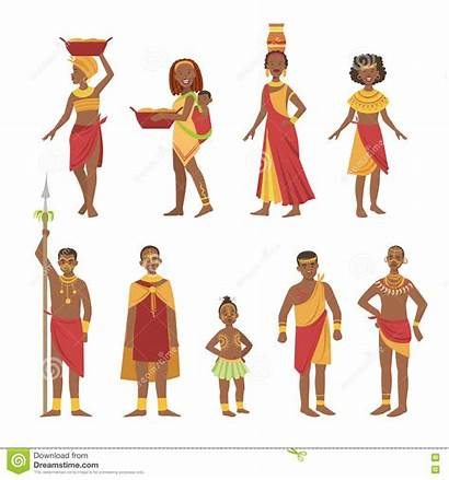 African Tribal Outfit Cartoon National Simple Vector