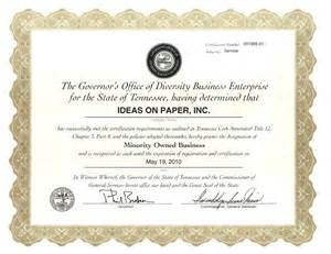 Business Diversity Certificate
