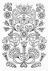 Coloring Pages Adult Embroidery Scandinavian Folk Pdf Patterns Sheets Colouring Grown Printable Books Colorear Pajaros Mano Adults Pattern Bordados Bordado sketch template