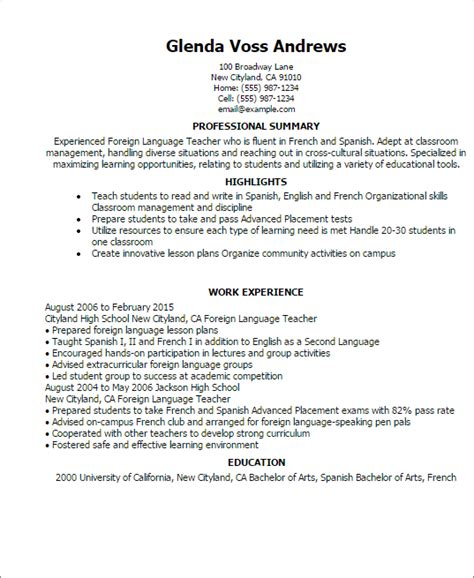 foreign language resume template best design