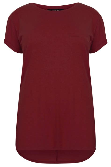 burgundy t shirt s burgundy pocket detail t shirt with dipped hem plus size