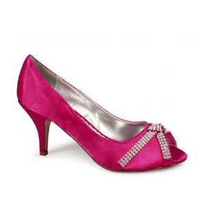 fuschia wedding shoes womens low heel satin diamante wedding evening shoes fuschia pink