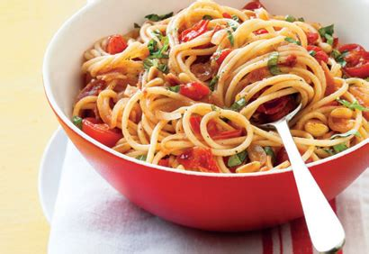 spaghettis 224 la pancetta aux tomates cerises et au basilic coup de pouce