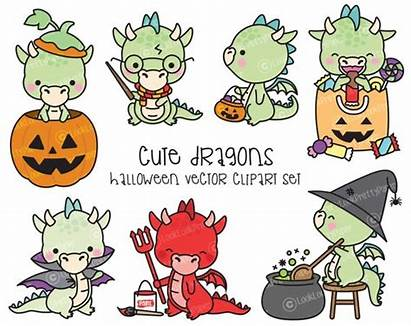 Dragon Kawaii Halloween Clipart Vector Premium Dragons