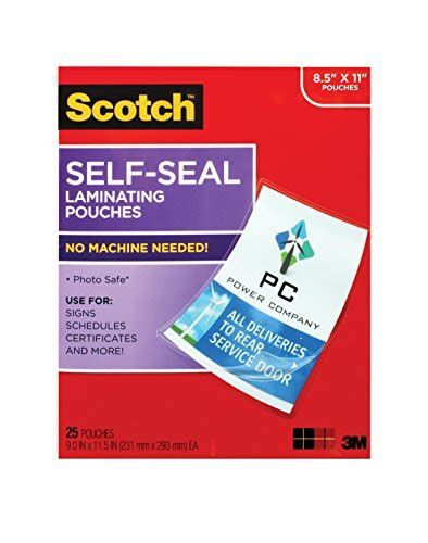 scotch self sealing laminating pouches 25 sheets 9 0 in x 11 5 in gloss finish letter size
