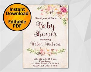 editable baby shower invitation watercolor invitation With etsy editable wedding invitations