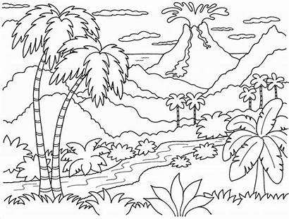 Coloring Scenery Pages Mountain Printable Landscape Adults