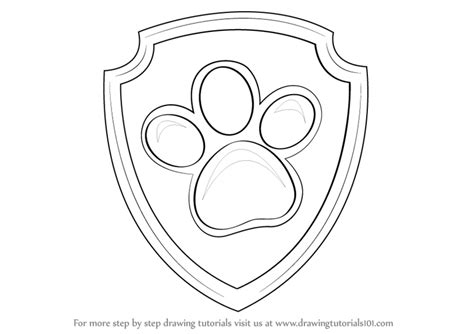 paw patrol badge template learn how to draw badge from paw patrol paw patrol step by step drawing tutorials