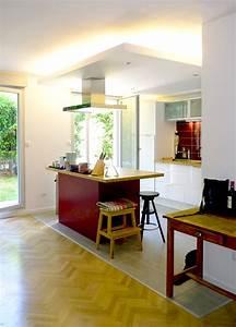reamenagement appartement rez de chaussee jardin19eme paris With parquet cuisine ouverte