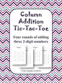 column addition tic tac toe game adding   digit