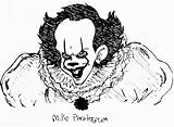 Pennywise Clown Drawing Coloring Pages Horror Dancing Getdrawings sketch template