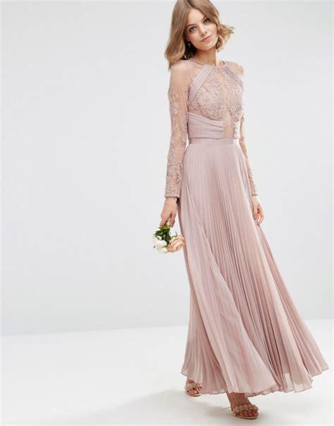 asos maxi pudrowa sukienka plisowana koronkowa w suknie i sukienki szafa pl