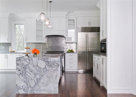 waterfall marble kitchen island contemporary kitchen stephani buchman