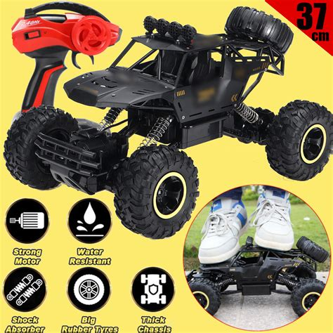 Realistic amazing buggy looks with individual appearance make this monster truck special, thanks to the 1:12 scale detail design, desert buggy style body a lower charging compartment allows easy access to the battery without removing the body and spoiler. 2020 2.4G 4WD RC Monster Truck 15 inch Off-Road Vehicle Remote Control Buggy Crawler Car Toy ...