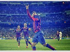 Barca Images GIF Messi's Goal Celebration at Santiago