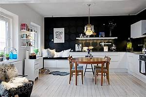 Black on black polka dots in the kitchen decoist for Kitchen colors with white cabinets with polka dot wall art