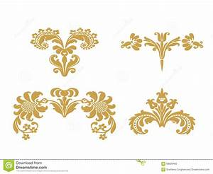 Vector Abstract Gold Set Flowers Elements Design Stock ...