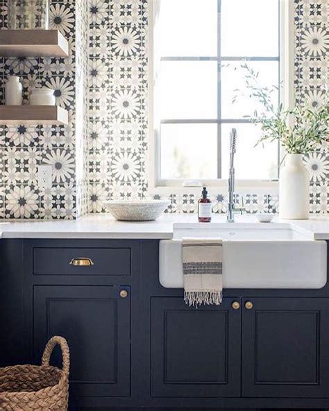 patterned tiles for kitchen pattern tile backsplash black and white navy and white 4108