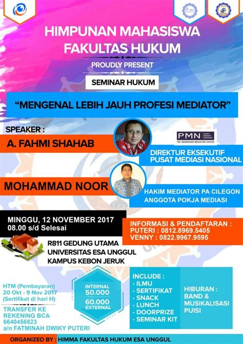 fakultas ilmu hukum proudly present seminar mengenal lebih jauh profesi mediator universitas