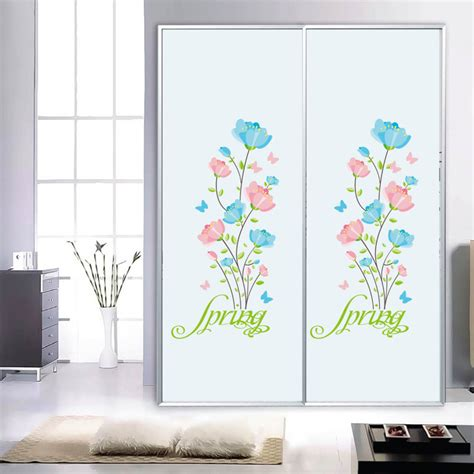 blue and pink っ flowers flowers wall stickers cabinet window window glass