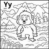 Yeti Coloring Letter Alphabet Colorless Illustration Vector Bigfoot Russia Animal sketch template