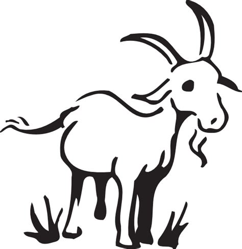 goat clipart black and white goat in the grass clip at clker vector clip