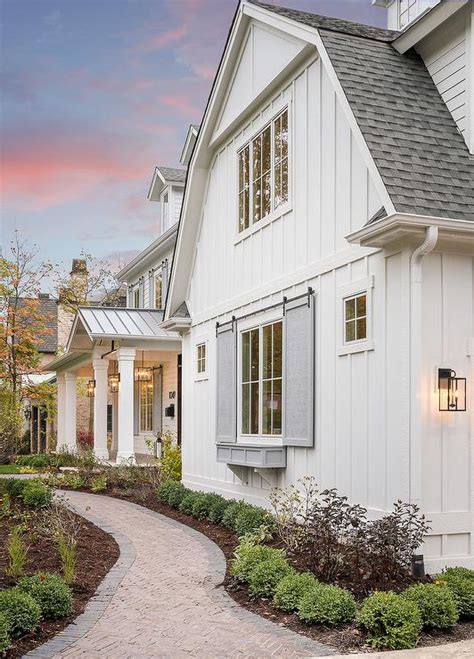 House With White Shutters by White House Gray Front Door Design Ideas