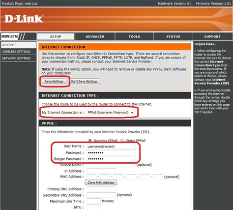 d link router setting up for pppoe