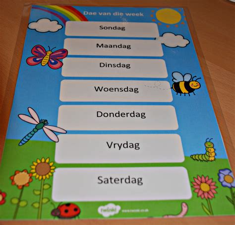 afrikaans worksheets days of the week editable resources that are great for a second language