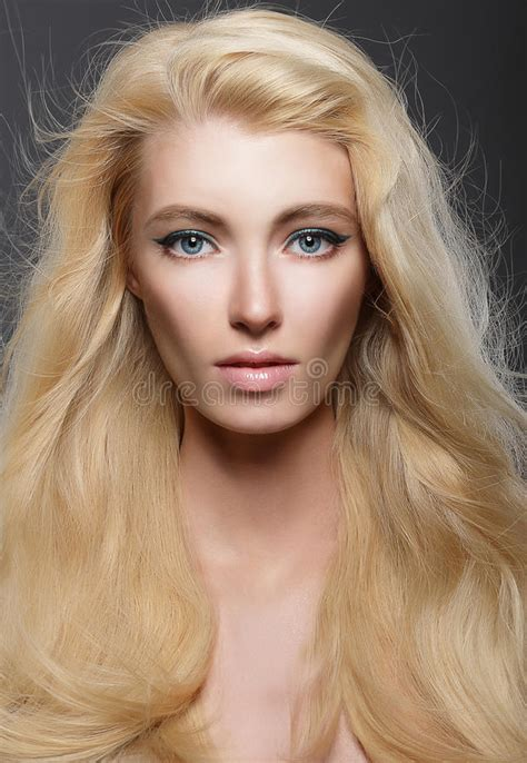 pure beauty portrait  young blonde  healthy flowing hair stock photo image