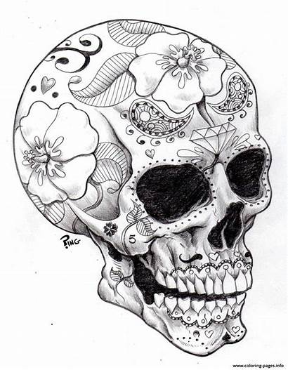 Coloring Skull Halloween Sugar Adult Pages Printable