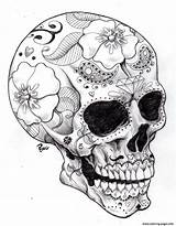 Skull Coloring Sugar Halloween Adult Printable sketch template