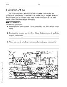 Pollution Of Air Worksheet For 1st  4th Grade  Lesson Planet