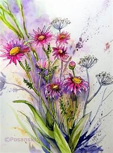 Aquarell Malen Blumen : bild blumen blumenaquarell aquarellmalerei margriten ~ Articles-book.com Haus und Dekorationen