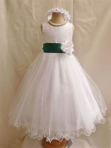 Flower Girl Dresses - IVORY with Green Hunter (FD0FL ...